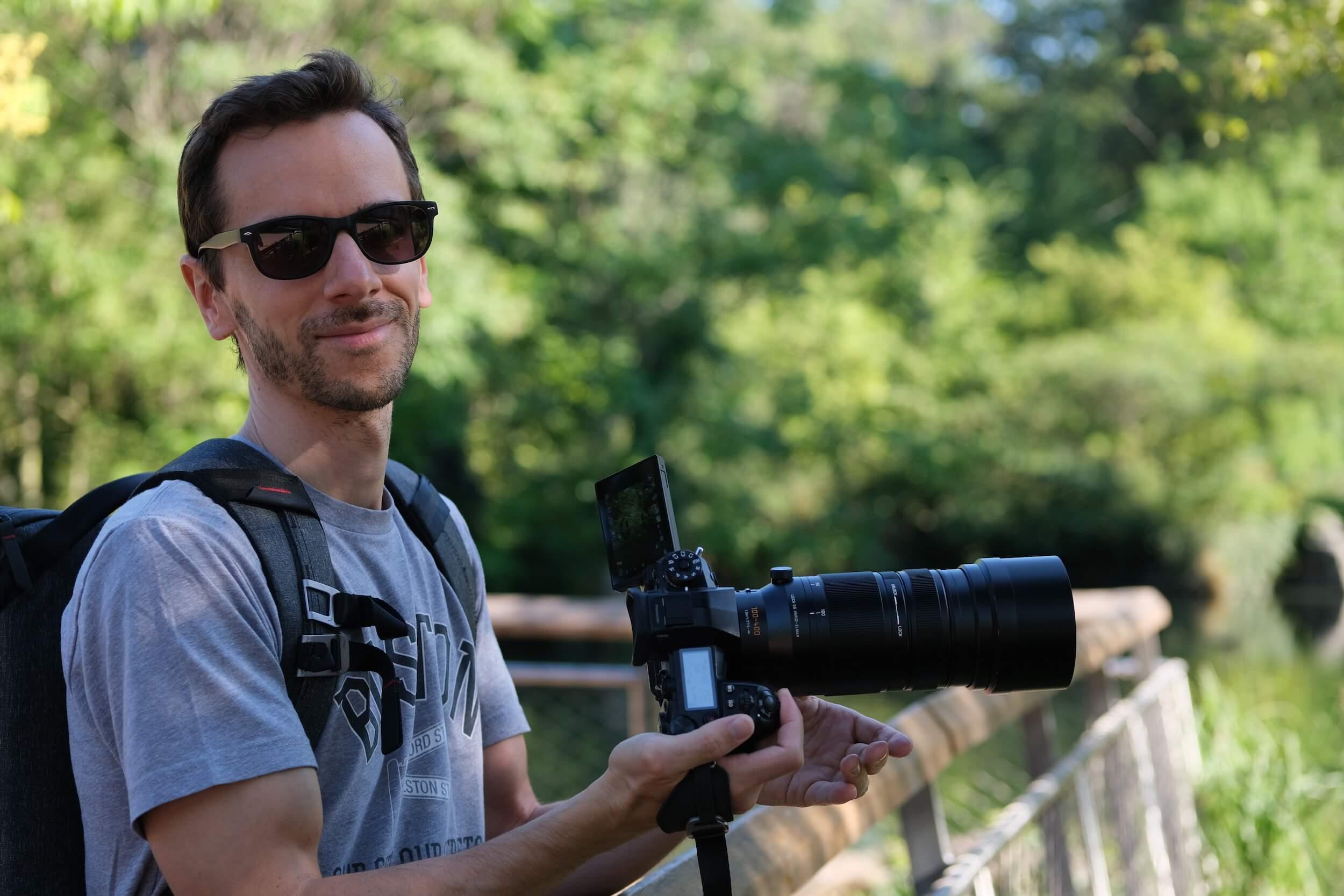 Benoit avec l'optique Leica 100-400 mm