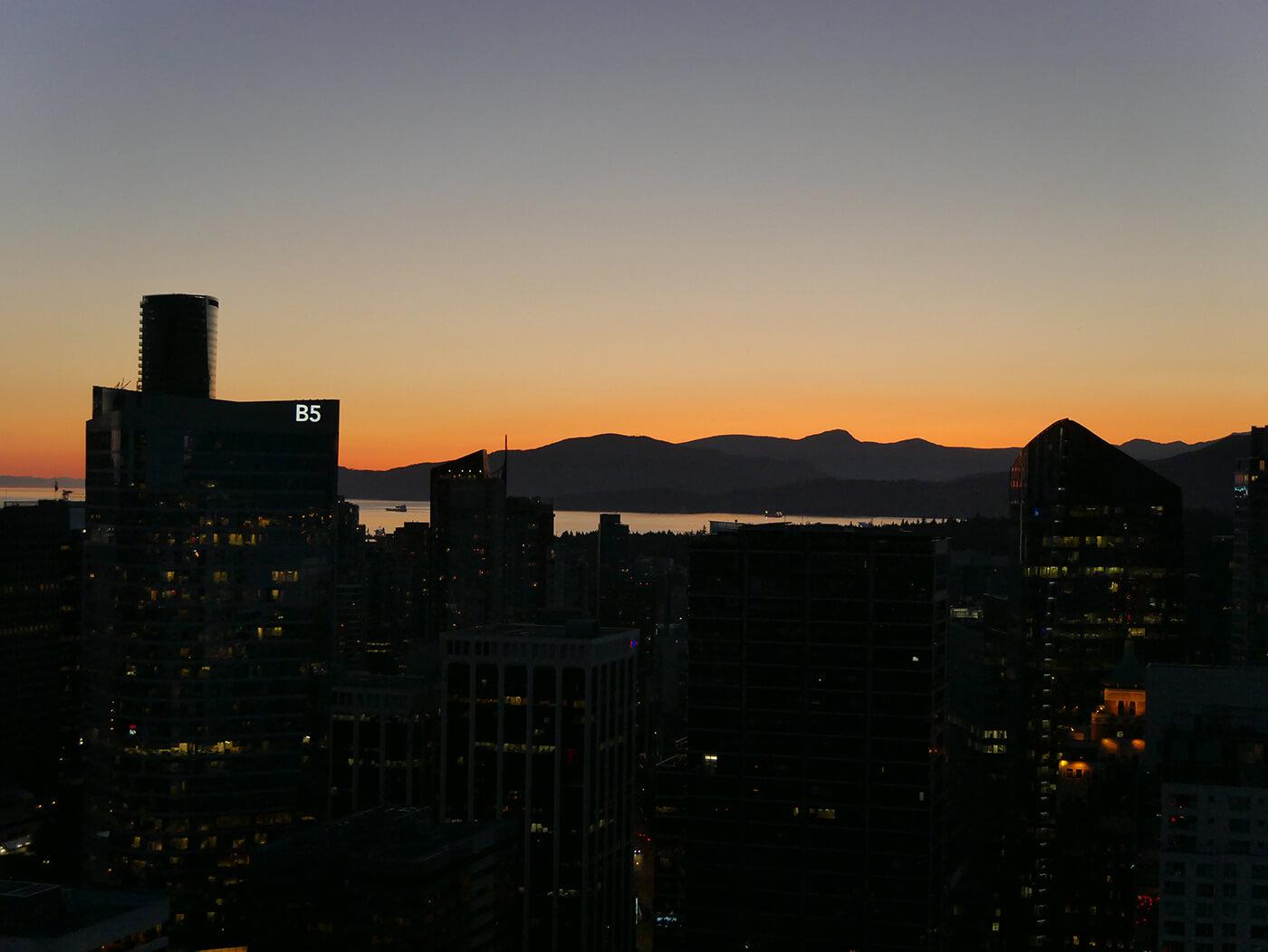 coucher de soleil pris depuis la Tour Look Out de Vancouver