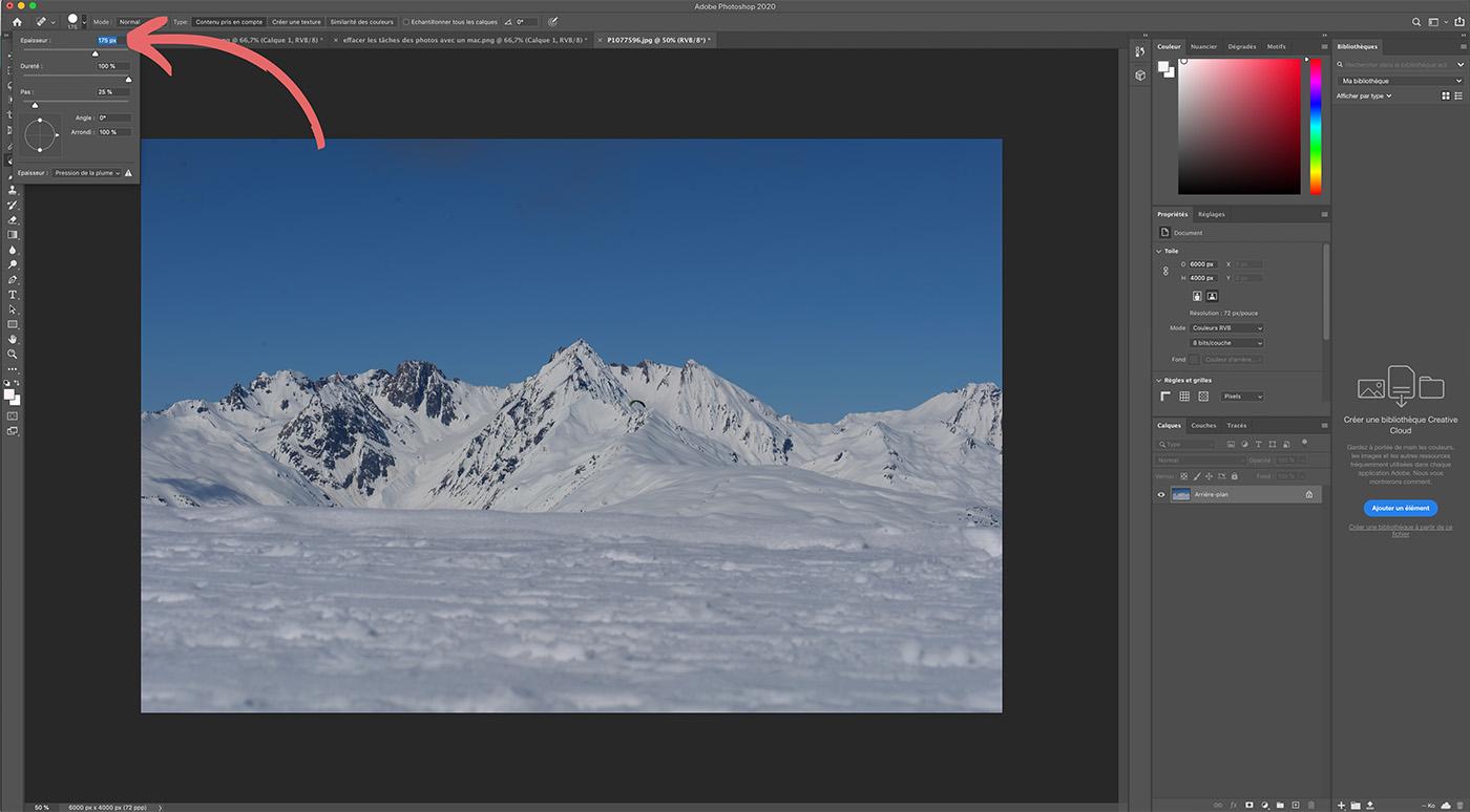 effacer traces sur images numeriques avec Photoshop